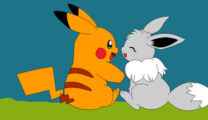 shiny eevee and shiny pikachu by BloodySilverKitsune