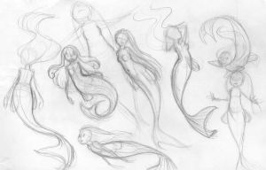 Mermaid sketches 1 by chibiki
