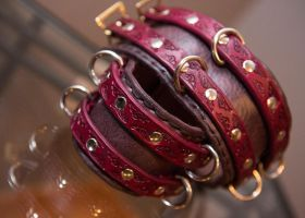 Victorian BDSM leather shackles by DarkHarvestLeather