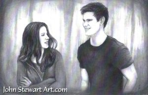 Twilight Bella and Jacob charcoal for sale by johnstewartart