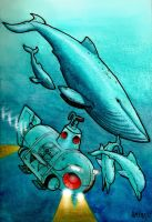 1985 Sub and Cetaceans by Frohickey