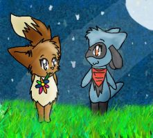 Eevee and Riolu by scr3aam3r