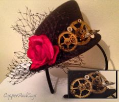 'Rose, netting and cogs' Steampunk mini tophat by CopperAndCogs