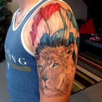 Lion and Flags Tattoo by Mike Ashworth by Mikeashworthtattoos