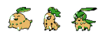 Chikorita crosbreed sprites (Aug 2015) by emimonserrate