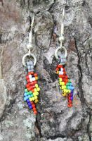 Scarlet Macaw Beaded Earrings by purpleyoshi1