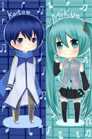 Vocaloid :Kaito and Miku by NoraShi-San