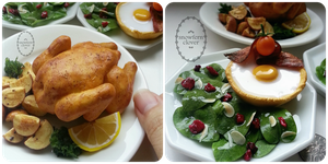 1:3 scale miniature Roast Chicken and Egg Tartlets by Snowfern