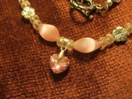 Pink Heart Necklace Closeup 1a by Windthin
