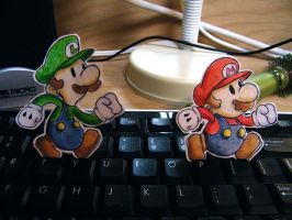 Paper Paper Mario and Luigi by pettyartist