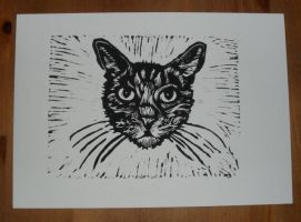 Linocut Cat by nellbelle