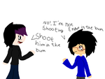Shoot him in the bum by NeonTricksterSaphire