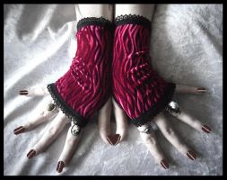 Rose Velvet Fingerless Gloves by ZenAndCoffee