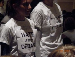 'Hate is not debate.' by Balfran
