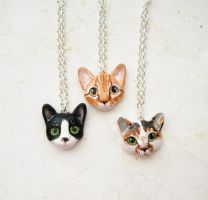 New cat portrait necklaces by FlowerLandBySaraMax