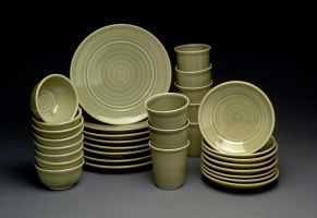 Gas Fired Dinnerware Set for Eight People by MBrownCeramics