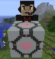 Markiplier and the Companion Cube by AMASTA10