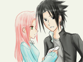 AU - highschool SasuSaku by Dark1408