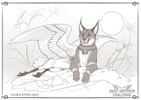 Gryphon Challenge 05 : Caracal and Egret by GaiasAngel