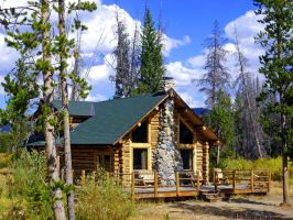Idaho log cabin by joeyartist