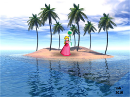 Princess Peach on island by Sintonio