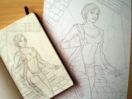 Lara sketch + lineart by alison90