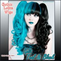 Split Wig - Teal + Black by GothicLolitaWigs