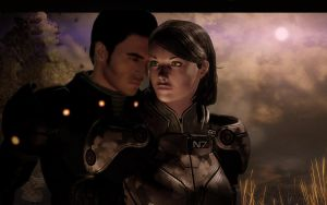 Kaidan and Leah by martik0
