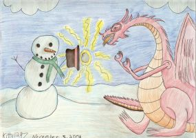 Dragon vs. Snowman by Kitty1297