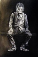 Joker  compressed charcoal and pencil by ADRIANSportraits