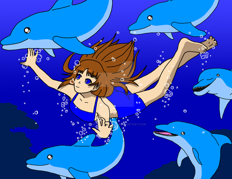 Shaya Swimming with Dolphins by TheThunder-Art