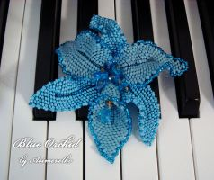 "Brooch ""Blue Orchid"" by aoimevelho"