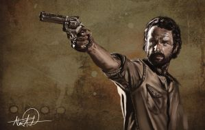 Rick Grimes Digital Painting by AvilaArtwork