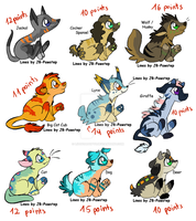 Chibi Animal adoptables sheet 2 by LizzysAdopts