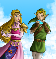 Link and Zelda by Know-Kname