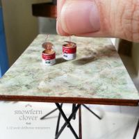 1:12 scale miniature Coffee in tins - 80s style by Snowfern