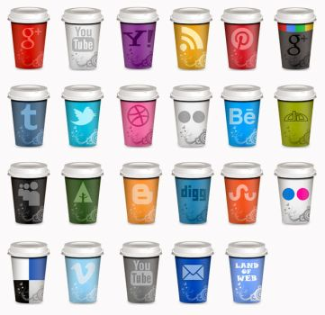 UPDATED Set of Social Icons Takeout Coffe Cup by NatalyBirch