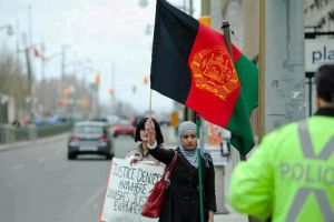 Raised the  Afghanistan flag in the street by msnsam