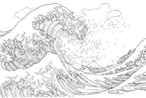 The Great Wave non colour by deangaryrobson