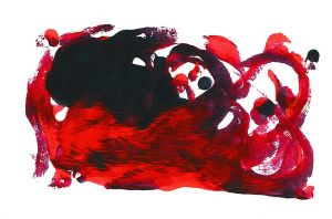 Red Monoprint by fayedove
