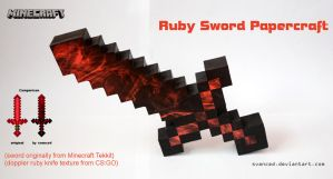 Minecraft Ruby Sword Papercraft 1 + DOWNLOAD by svanced