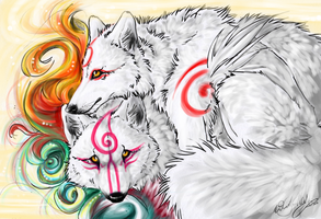 Amaterasu et Shiranui by WhiteSpiritWolf