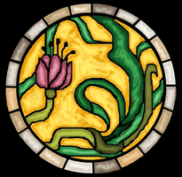 Art Nouveau Style Stained Glass Drawing by rockafellow