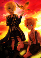 [Vocaloid] Oliver and Len by TenshiAya
