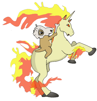 Cubone Riding Rapidash by Beefster09