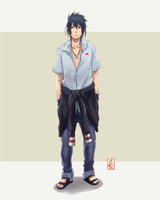 modern outfit sasuke by sharingandevil