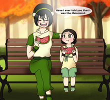 Melonlord:Toph and Little Lin by Hibouette