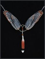 American Kestrel Wings - Leather Pendant by windfalcon