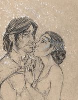 Aragorn and Arwen sketch by oboe-wan