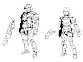 Sci-Fi Character Concepts Commission by CypressDahlia